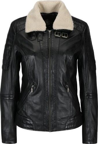 Čierna dámska kožená bunda s umelou kožušinou KARA Hanna - Glami.sk ddd922094de