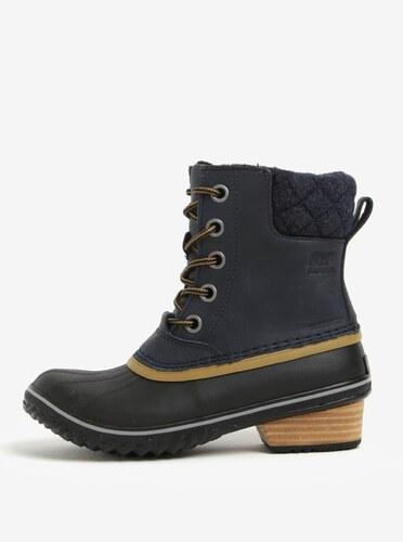 Modré dámské kotníkové kožené voděodolné zimní boty na nízkém podpatku SOREL ff8b8b68d9