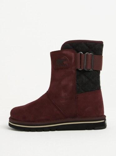 5844308f9443d Vínové semišové členkové vodovzdorné zimné topánky SOREL Newbie ...
