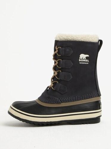8a726341f1f Tmavě šedé dámské kožené voděodolné zimní boty s umělým kožíškem SOREL