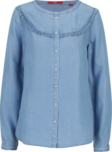 Světle modrá dámská džínová košile s volány s.Oliver - Glami.cz 62c3c2af5f