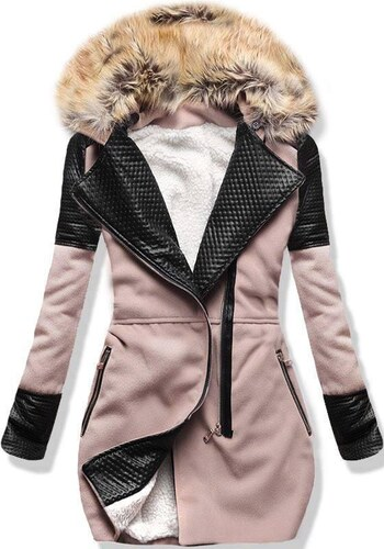 5869f40237 Trendovo Ružový zimný kabát s kožúškom - Glami.sk