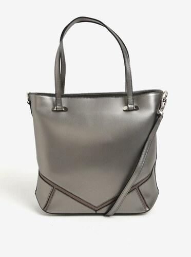 81926cb8cc Šedá kožená dámská metalická kabelka do ruky crossbody kabelka KARA ...