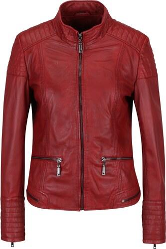 Červená dámská kožená bunda s prošívanými detaily KARA Pavlina ... a4eb1e29c2