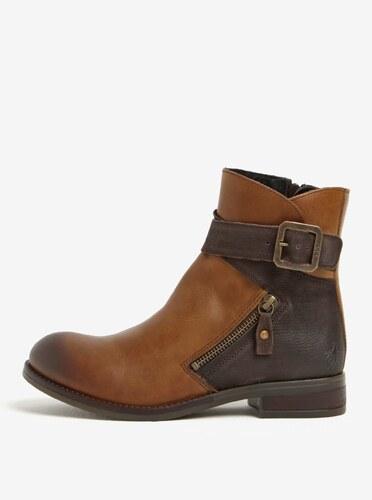 Hnědé dámské kožené kotníkové boty s přezkou Fly London - Glami.cz f16b0071cd