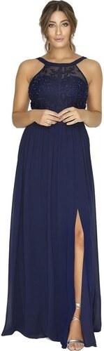 439df257d6d9 LITTLE MISTRESS Tmavomodré dlhé šifónové šaty s dekorovaným topom ...