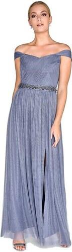0fc2e1e05458 LITTLE MISTRESS Spoločenské šaty v šedom levanduľovom odtieni s dekorovaným  pasom