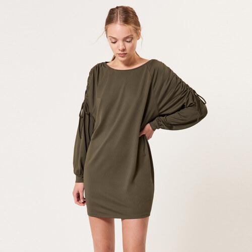 Mohito - Šaty s řasenými rukávy - Zelená - Glami.cz 39315cb9981