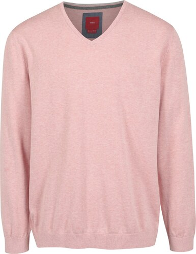 Světle růžový pánský svetr s véčkovým výstřihem s.Oliver - Glami.cz f155257adb