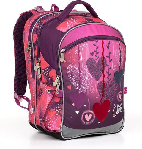 Tříkomorový školní batoh se srdíčky Topgal COCO 17002 - Glami.cz 6b54cc90f2