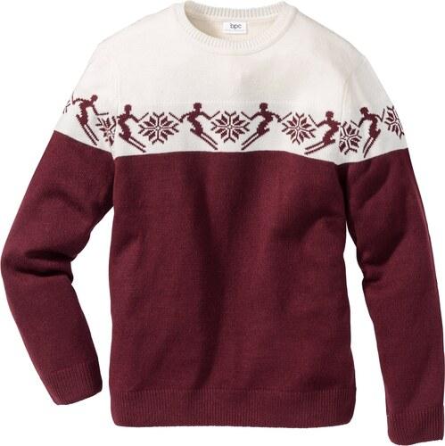 bpc bonprix collection bonprix pull norv gien teneur en laine regular fit rouge manches. Black Bedroom Furniture Sets. Home Design Ideas