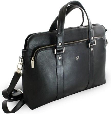 5d50ac4c23 Arwel Černá kožená business taška na notebook Catalina - Glami.sk