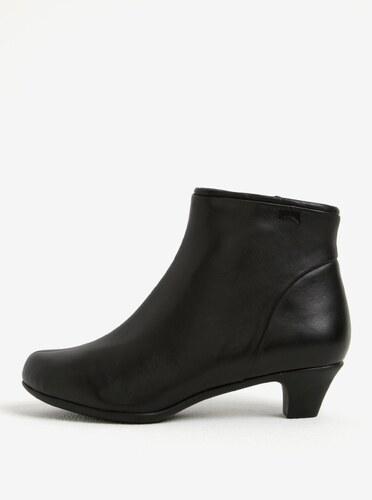724c51b593 Čierne dámske kožené členkové topánky na podpätku Camper Nappa ...