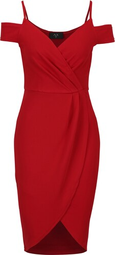 Červené puzdrové prekladané šaty s odhalenými ramenami AX Paris ... 7f99f71edac