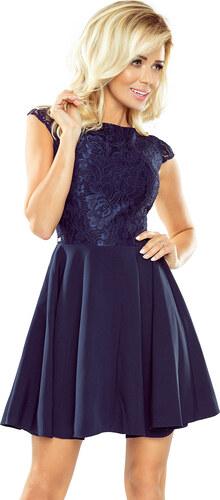 a47aeba273ae NUMOCO Dámske modré elegantné šaty s čipkou 157-1 - Glami.sk