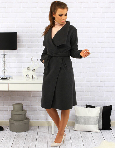Tmavo šedý dámsky kabát Clavel viazaný v páse (ny0113) - Glami.sk a5f0e0f90ff