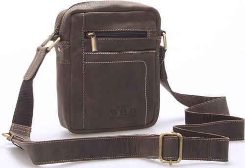 b0a8344da4 WILD collection Pánská kožená taška přes rameno tmavě hnědá - WILD Mason  hnědá
