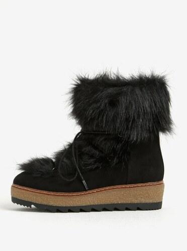 8568d06431 Čierne zimné čižmy s umelou kožušinou Tamaris - Glami.sk