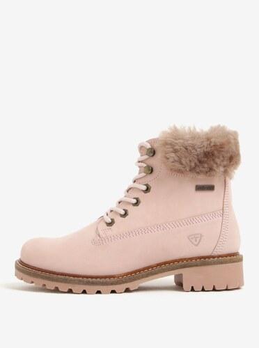 e7a83c77a7cf Ružové vodovzdorné zimné kožené členkové topánky s vlnenou podšívkou Tamaris