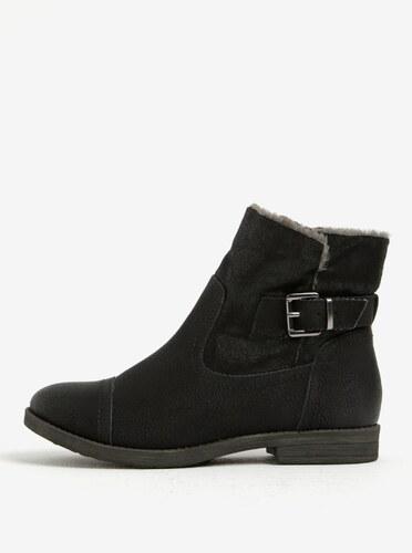 Čierne zimné členkové topánky s umelou kožušinou Tamaris - Glami.sk 732f8677144