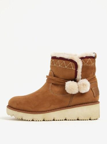 Hnedé dámske zimné členkové topánky v semišovej úprave na platforme s.Oliver 105635abbb3