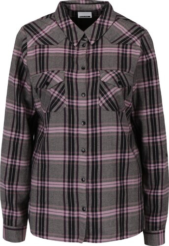 c6f14b2b565 Růžovo-šedá károvaná košile Noisy May Erik - Glami.cz