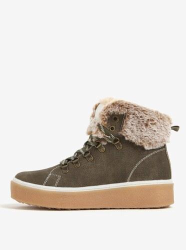 Khaki dámské kotníkové zimní boty na platformě s.Oliver - Glami.cz 79a6b88bf8