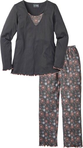 85f5190fb23e59 bpc selection Pyjama langarm in grau für Damen von bonprix - Glami.de