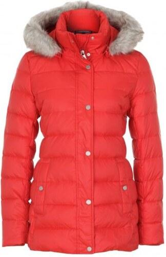 Tommy Hilfiger dámská červená péřová bunda New Tyra s kapucí - Glami.cz 76a4843f76