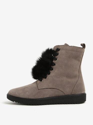 2be53132a7 Sivé semišové členkové topánky s brmbolcami OJJU - Glami.sk