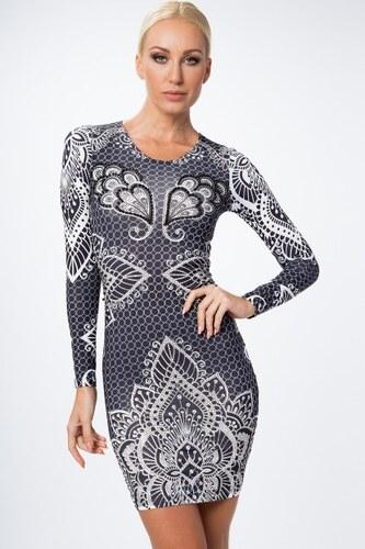 dd552ac8afda Fasardi Krátke šaty s dlhým rukávom a ornamentami