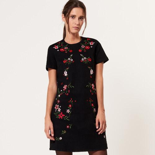 Mohito - Džínové šaty s vyšívanými květy - Černý - Glami.cz 9c8daa1d58e