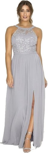 LITTLE MISTRESS Šedé dlhé šifónové šaty s dekorovaným topom - Glami.sk 3b60d5c4d49