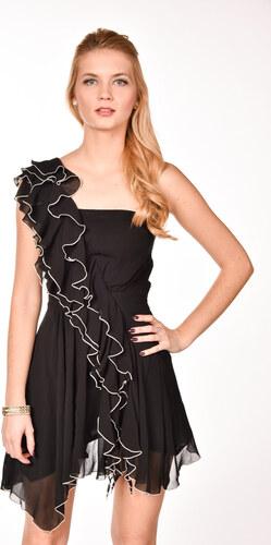 e5e4e3e4b8fb iné Čierne volánové šaty na jedno rameno - Glami.sk