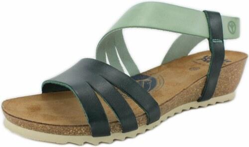 WANDA PANDA Wanda Panda dámské kožené sandále na klínku BIBIANA zelené 8a8ffc6939