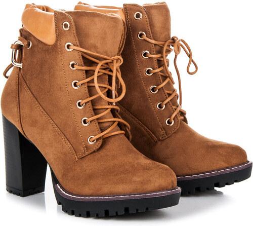 beacf703b4a8 SERGIO TODZI Dokonalé šnurovacie hnedé členkové topánky na podpätku ...