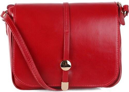 TALIANSKE Talianska dámska kožená kabelka crossbody červená Aurelia ... 41100b97f43
