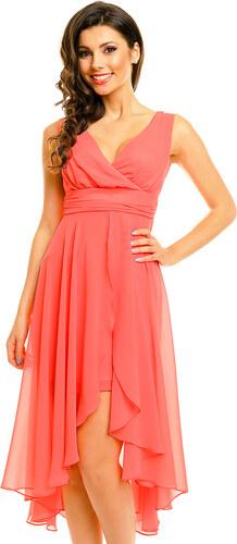 1fdb21f7025 Dámské společenské šaty MAYAADI šifonové s asymetrickou sukní lososové