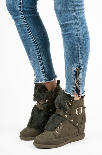 5c1f42d4cf8f Kylie Dámske khaki športové topánky s kožúškom - Glami.sk