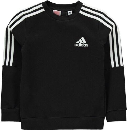 Detská mikina Adidas 3 Stripe Logo Crew Sweatshirt Junior Boys ... 197e987b72d