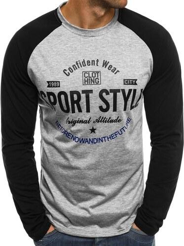 881468b36ccf Pánske sivé tričko s dlhým rukávom J.STYLE SX048 - Glami.sk