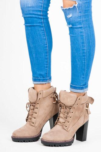 3663f6082f94 SERGIO TODZI Dokonalé šnurovacie béžové členkové topánky na podpätku ...