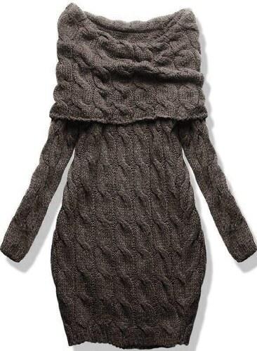 132118e777e5 Butikovo Hnedé pletené šaty s odhalenými ramenami - Glami.sk