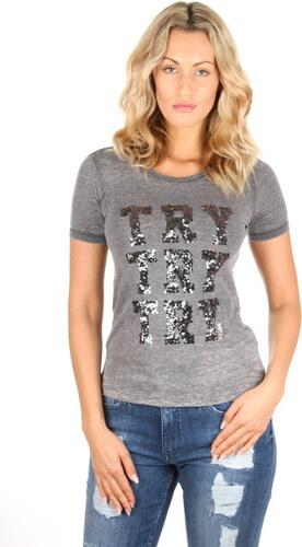 9392b910dc Guess dámske šedé tričko s flitrami - Glami.sk