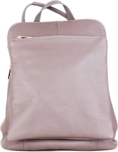 a86c49d35d0 ITALSKÉ Dámský kožený batoh a kabelka v jednom hnědý (taupe) Navaro ...