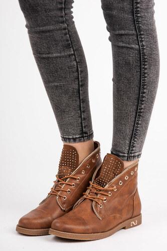 SUPER ME Nízke hnedé členkové topánky zdobené kamienkami - Glami.sk 14ec87a7ae4