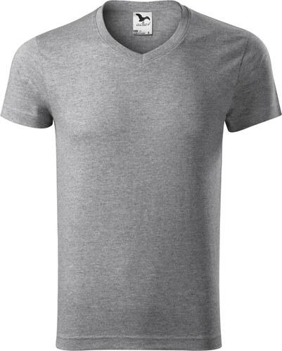 28c743220c7d ADLER Slim fit V-NECK Pánské triko 14612 tmavě šedý melír S - Glami.cz