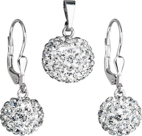 b27adcc82 EVOLUTION GROUP Sada šperků s krystaly Swarovski náušnice a přívěsek bílé  kulaté 39072.1