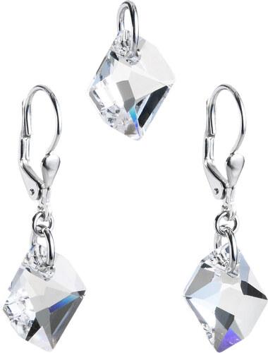 EVOLUTION GROUP Sada šperkov s krištáľmi Swarovski náušnice a prívesok  biely krištál 39005.1 e4791255bae