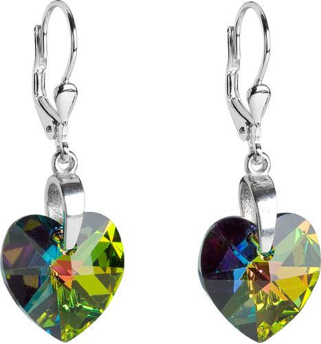 e7481066d EVOLUTION GROUP Stříbrné náušnice visací s krystaly Swarovski zelené srdce  31012.5